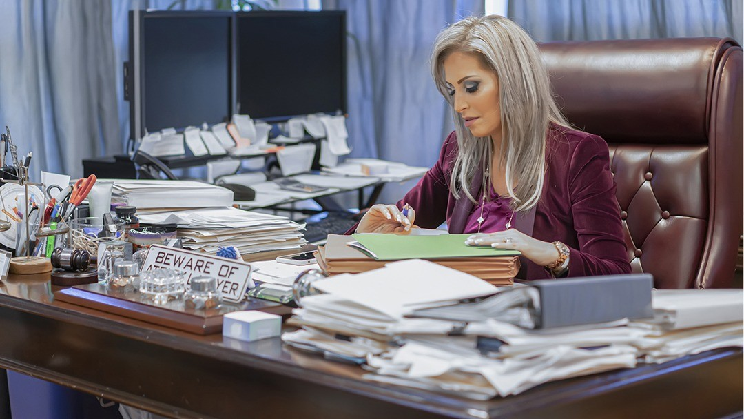 Lawyer working on a client construction injury case
